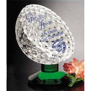 "Fairway - 5 1/4"" X 4 3/4"" - Green Optical Crystal Award Featuring Golf Ball"