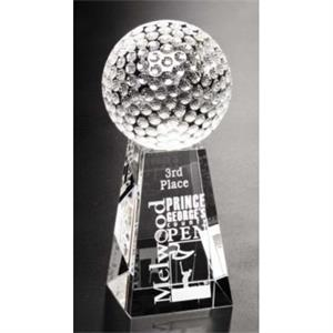 "Sports Gallery - Optical Crystal Golf Award With Base Of 2 1/2"" X 4"" X 2 1/2"""