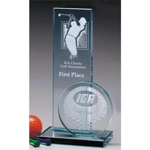 "Sport Tower Sports Gallery - 5"" X 7 1/2"" X 3"" - Jade Crystal Sports Tower Award"