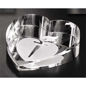Distinctive Gift Gallery - Optical Crystal Slant Heart Paperweight