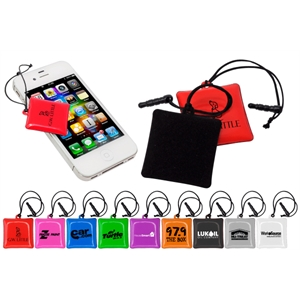 40 Working Days - Cell Phone Cleaning Pouch With Velvet Pad. Plugs Into Earphone Jack For Storage