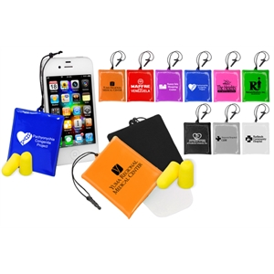 40 Working Days - Cell Phone Cleaning Pouch With Soft Cleaning Pad Holds Included Ear Plugs. 9 Colors