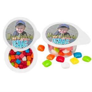 Small Cup Filled With Tablet Gum. Full Color Logo On Tear Away Lid