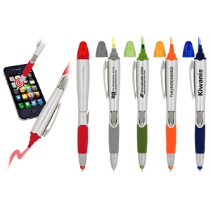 7 Working Days - Stylus, Retractable Ballpoint Pen And Highlighter. Silver Barrel. Color Trim/grip