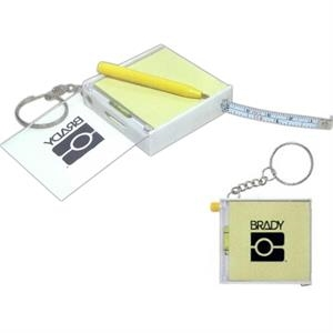 "The Works - 3 Working Days - Keychain With Level, Pen, Notepad And 39"" Metal Tape Measure With Split Keyring"