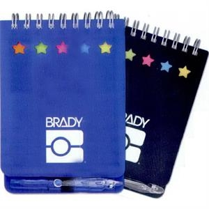7 Working Days - Small Spiral Bound Notepad With Sticky Notes. Star Die-cuts Show Paper Flag Colors