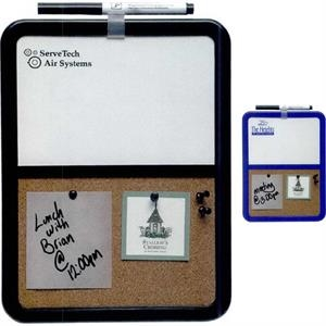 Half & Half - 1 Working Day - Corkboard And Dry Erase Board With Pen, Pen Clip, Eraser And Tacks. Magnetic Mount