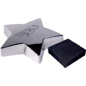 Shining Star - 7 Working Days - Metal Paper Weight With Felt Lined Bottom In The Shape Of A Star. Color: Silver