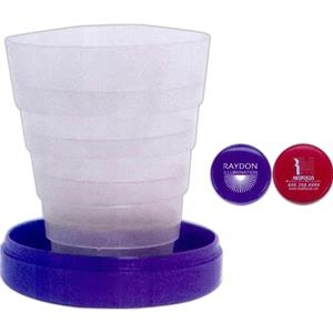40 Working Days - 4 Oz. Collapsible Travel Cup. Pill Holder With Plastic Cover In Lid. Blue Or Red