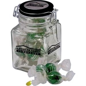 Clear, Square Jar With Metal Clamp Tool Filled With Choice Of Chocolate Mints