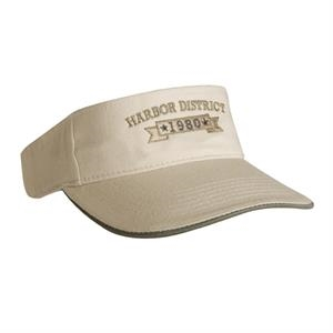 2800 Series - Tan-navy - Laundered Chino Twill Visor With A Contrasting Mock Sandwich Visor