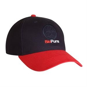 9300 Series - Black-red - Low Profile, 100% Cotton, 6-panel Baseball Cap, Fabric Strap Closure