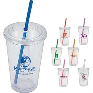 Crystal - Bpa Free Double Wall 16 Oz. Tumbler Features A Screw On Lid And Silicone Seal