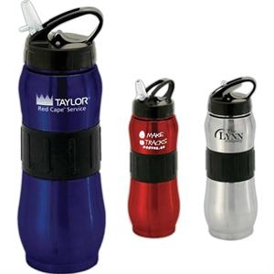 Tundra - 30 Oz. Rubber Grip Steel Sports Bottle With Fold Out Sipper, And Internal Straw