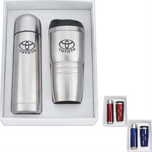 Stainless Steel 16 Oz. Tumbler And Double Wall 16.5 Oz. Thermos Set In A Gift Box