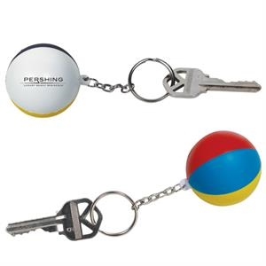 Beach Ball Shaped Stress Reliever With Key Chain Attached