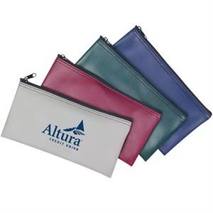 A Bank Pouch Made Of Pvc With A Top Zippered Main Compartment