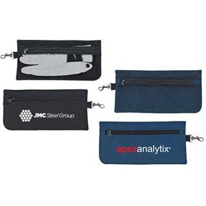 Polyester Accessories Pouch With Main Zippered Mesh Pocket, A Zippered Front Pocket