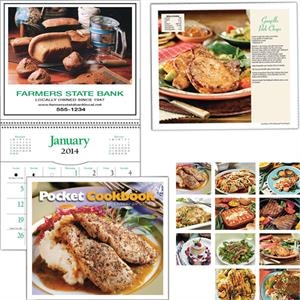 "Spiral Bound 8"" X 16 1/8"" Twelve-picture Pocket Cookbook Calendar"