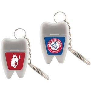Floss Master - Tooth Shaped Dental Floss. Dental Floss With Key Chain In Tooth Shaped Container
