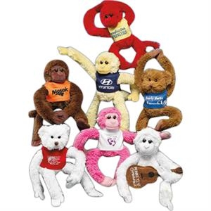 "Sof-fur (tm) Clingers (tm) - White - 9"" Stuffed Monkey With Long Arms And Legs And Velcro On Hands And Feet"