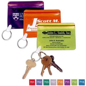 Translucent Waterproof Vinyl Wallet With Key Ring, Holds Cards And Ids