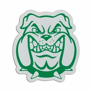 Bulldog Head - Lightweight Plastic Sports Badge With Safety Pin Or Magnet Backing
