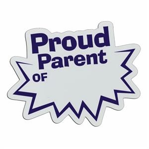 Proud Parent - Lightweight Plastic Sports Badge With Safety Pin Or Magnet Backing