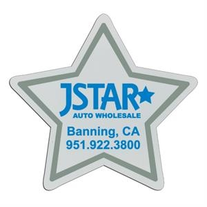 Star - White Lightweight Plastic Badge With Safety Pin Or Magnet Backing