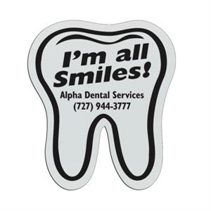 Tooth - White Lightweight Plastic Badge With Safety Pin Or Magnet Backing