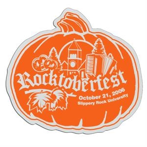Pumpkin - White Lightweight Plastic Badge With Safety Pin Or Magnet Backing