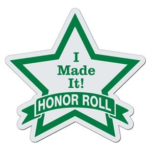 Star With Banner - White Lightweight Plastic Badge With Safety Pin Or Magnet Backing