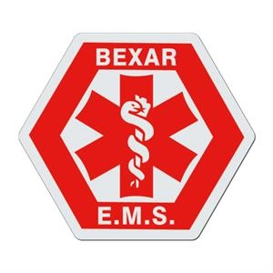 Hexagon With Medical Caduceus - White Lightweight Plastic Badge With Safety Pin Or Magnet Backing