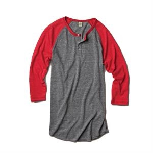 Solid Colors  X S- X L - Unisex Raglan Henley With 3/4 Sleeve