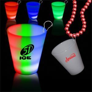 Rainbow 2oz Neon Look LED LightUp Glow Shot Glass w/ J Hook