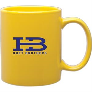 Yellow - Glossy Stoneware 11 Oz. Mug With C-handle