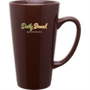 Brown - Glossy Ceramic, Tall Latte Mug, 16 Oz