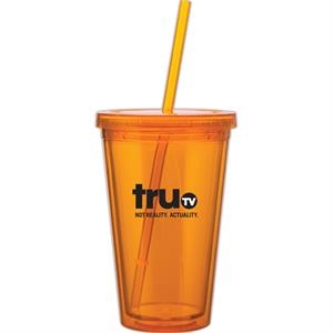 Spirit - Tangerine - 16 Oz Acrylic Double Wall Tumbler With Threaded Lid And Matching Straw