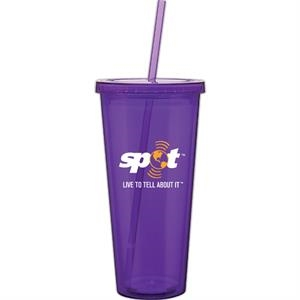 Spirit - Purple - 20 Oz Acrylic Double Wall Tumbler With Threaded Lid And Matching Straw