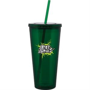 Spirit - Green - 20 Oz Acrylic Double Wall Tumbler With Threaded Lid And Matching Straw