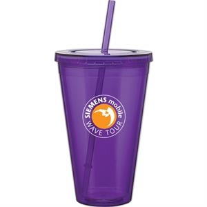 Spirit - Purple - 24 Oz Acrylic Double Wall Tumbler With Threaded Lid And Matching Straw