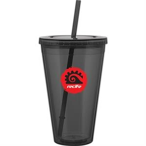 Spirit - Graphite - 24 Oz Acrylic Double Wall Tumbler With Threaded Lid And Matching Straw