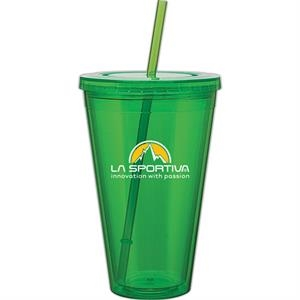 Spirit - Apple - 24 Oz Acrylic Double Wall Tumbler With Threaded Lid And Matching Straw
