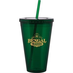 Spirit - Green - 24 Oz Acrylic Double Wall Tumbler With Threaded Lid And Matching Straw