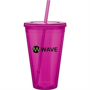 Spirit - Fuchsia - 24 Oz Acrylic Double Wall Tumbler With Threaded Lid And Matching Straw