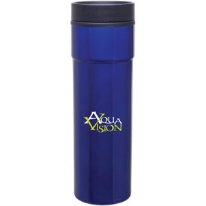 Como - Blue - 16 Oz Stainless Steel Tumbler With Plastic Liner, Foam Insulated, Push-on Lid