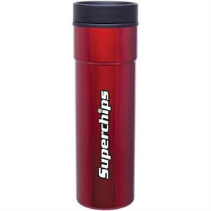 Como - Red - 16 Oz Stainless Steel Tumbler With Plastic Liner, Foam Insulated, Push-on Lid
