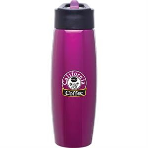 H2go (r) Orbit - Fuchsia - 25 Oz Single Wall Stainless Steel Water Bottle With Flip-up Straw