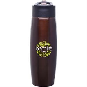 H2go (r) Orbit - Brown - 25 Oz Single Wall Stainless Steel Water Bottle With Flip-up Straw