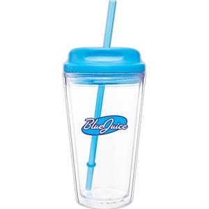 Spirit H/c - Aqua - 16 Oz Acrylic Double Wall Tumbler With Threaded Lid/straw For Hot Or Cold Beverages